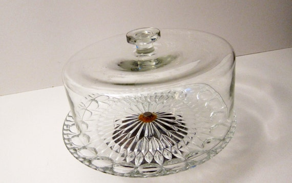 Vintage Glass Cake Plate Footed Plate Bronze Base Glass Dome Lid