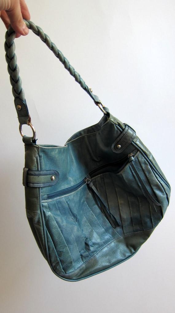 79783d161db5 BIG SALE Blue Leather Purse Vintage Hobo Leather bag Baby Blue