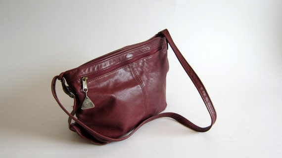 Leather Purse Vintage Hobo Burnt Red Maroon Leather Bag 1990s fashion Stone Mountain