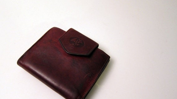 Leather Coin Purse Vintage Dark Brown Wallet Buxton Coin Pocket
