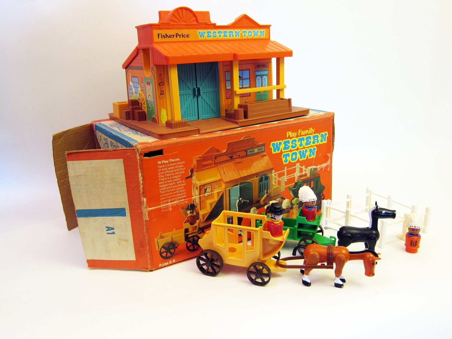 Vintage Fisher Price Western Town With Little People Toy