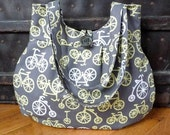 Gray, Yellow and White Bicycle-Patterned Purse