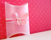 Pillow Favor Gift clear Box - pink with ribbon and butterfly with Crystals.