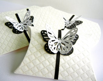 Pillow Favor Gift Box - White Emboss Quilt with ribbon and butterfly with Crystals.