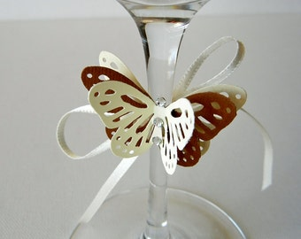 Butterfly with ribbon and crystals to place on the glass