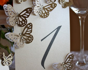 Pearl Table Numbers Card Table Tag with Butterflies and Crystals