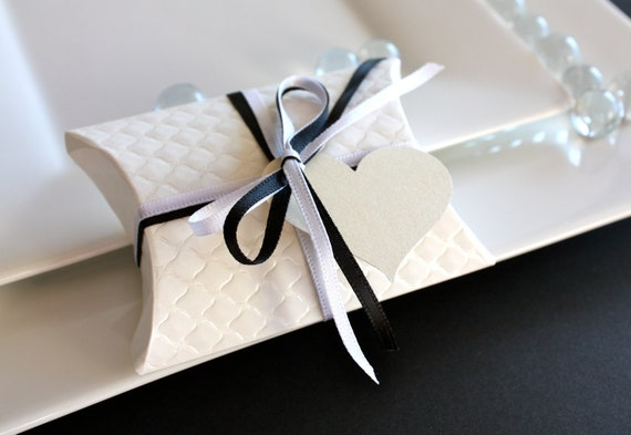 Pillow Favor Gift Box - White Emboss Quilt favor box with ribbon and tag.