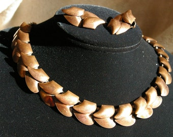 Vintage Copper Demi Parure - Abstract Leaves - Choker and Earrings - 1950's
