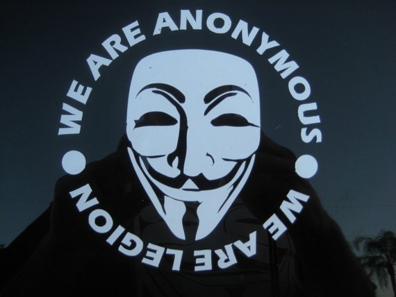 Anonymous We are Legion vinyl decal sticker Guy Fawkes Mask