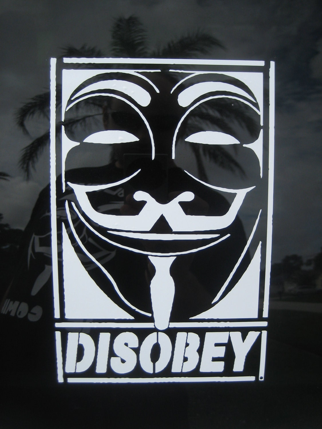 Anonymous DISOBEY vinyl decal sticker Guy Fawkes by ...