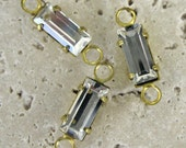 Vintage 7x3mm Crystal Baguette Stones with 2 loops.   8 pcs.
