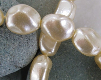 Vintage 10x13mm Oval Baroque Glass Pearls in Cultura.  2 dz.