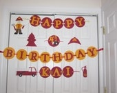 Fireman birthday banner personalized with name