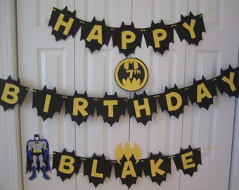Batman birthday banner personalized with name