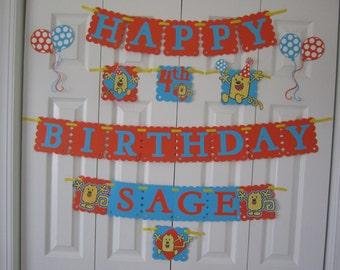 Wow Wow Wubbzy birthday banner personalized