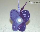 BUTTERFLY RING -  Wool Felt Butterfly Ring - Licla & Purple Felt Butterfly - Interchangeable Ring -  Purple Rings