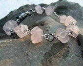 Rose Quarts Faceted Chunk Bracelet with Sterling Silver Antiqued Rings