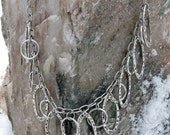 """Pewter Dangle Charm Rings on Long 20"""" Stainless Steel Chain"""