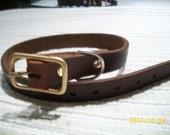 nice hand made repuposed leather  collar for medium to large dogs brass buckle 19-22""