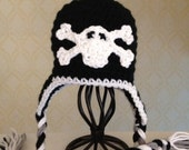 Skull and Crossbones Baby Newborn Punk Rock Hat With Braided Tassels Crochet