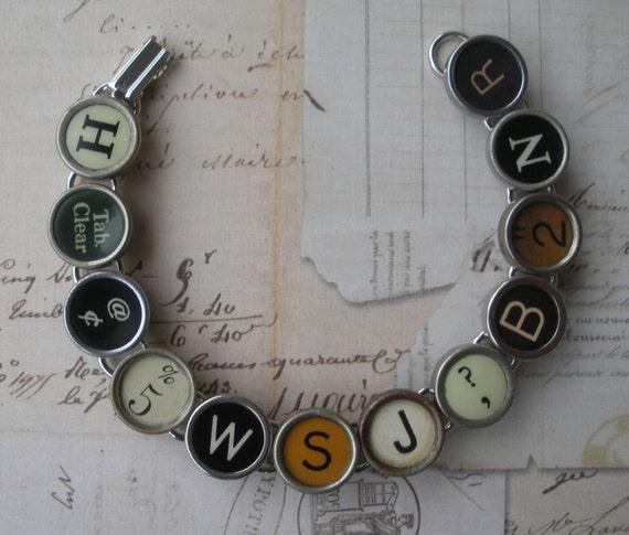 Vintage Typewriter Key Bracelet --Mixed Key--