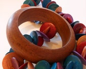 Vintage Wooden Bangle and Necklace Set from the 80s