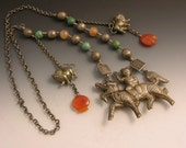 Vintage Tibetan/ Chinese silver necklace with carnelian and turquoise