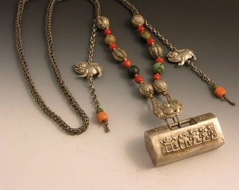 Vintage Tibetan / Chinese silver necklace with coral and turquoise
