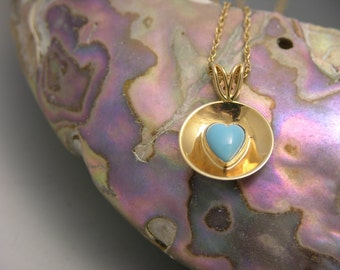 14k yellow gold, turquoise heart necklace