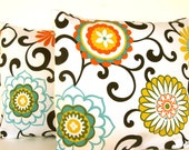 PAIR Designer Decorative Pillow Cover-Throw Pillow-Accent Pillow- 18 x 18 - Swirling colors on Light Cream