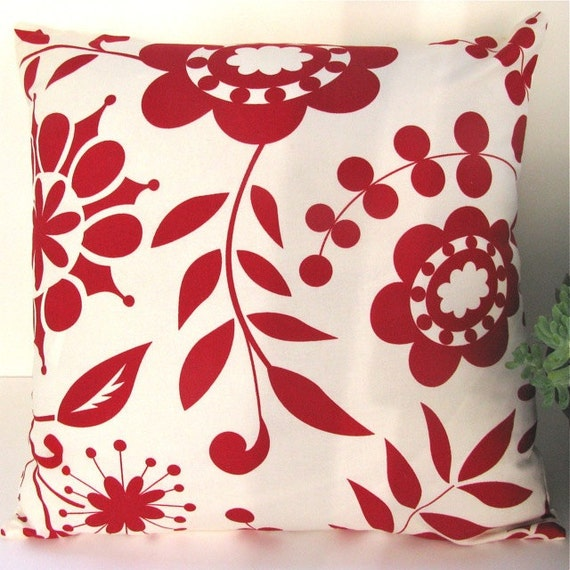 """Decorative Pillow Cover- Throw Pillow-Accent Pillow- 18""""x18""""- Rouge Garden Red/Light Cream- Holiday SALE 20% off"""