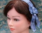 Reproduction 19th Century Blue Plaid Hairnet