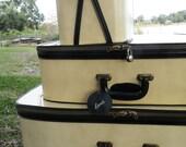Vintage Lark Luggage Set Train Case Beige and Black Travel Jetsetter