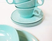 Lot of Turquoise Melamine Texasware / Newport Plate Platter Cup Saucer 50s Diner