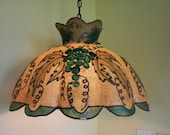 Unusual Large Swag Lamp with Grape and Leaf Design // Fiberglass Parchment Shade