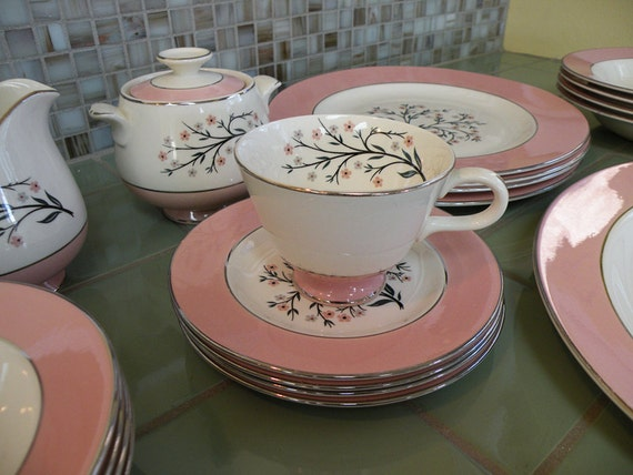 Perfect Service for Four Less One Cup Homer Laughlin Cavalier Eggshell Springtime Pink