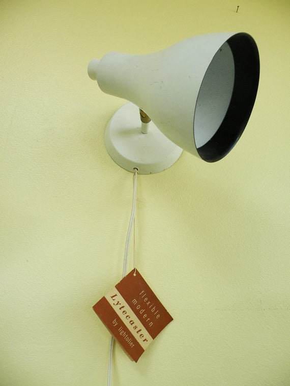 Mid Century Wall Sconce Light White and Brass Atomic Lamp NOS