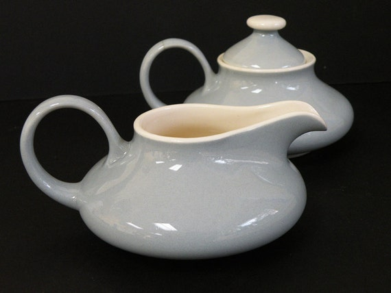 Vintage Aladdin's Lamp Creamer and Sugar Bowl Blue White
