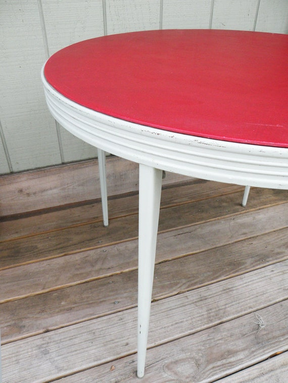 """RESERVED FOR ARTANDHEALTHNUT // Red Round Card Table 35"""" Wide // Folding 50s 60s Game Room Holiday Entertaining"""