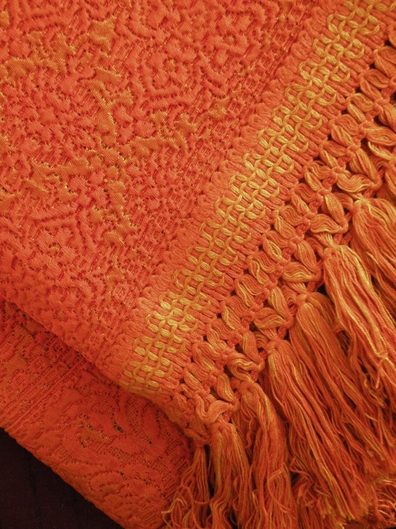 PRICE REDUCED // Gorgeous Bellissimo Queen Bedspread Made in Italy // Hollywood Regency Golden Orange Tapestry with Heavy Fringe