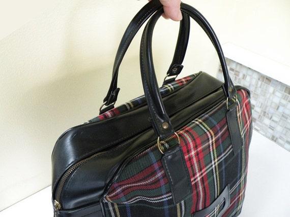 Perfect Black Plaid Tartan Overnight Luggage // Diaper Bag 60s Travel Handbag Purse