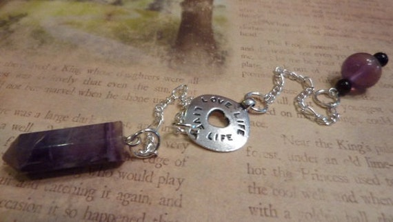 SALE - Pendulum with Fluorite and Love Life, Live Life/Follow Your Heart double sided charm
