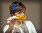 Crochet Bow Hair Clips - Mustard Yellow and Colbalt Blue Bow Hair Accessories - Set of Two clips - Hair Fashion