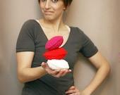 Crochet Valentine Stuffed Hearts - Red/White/Fuchsia Bag-o-Hearts - Three Large Stuffed Hearts - Valentines Day