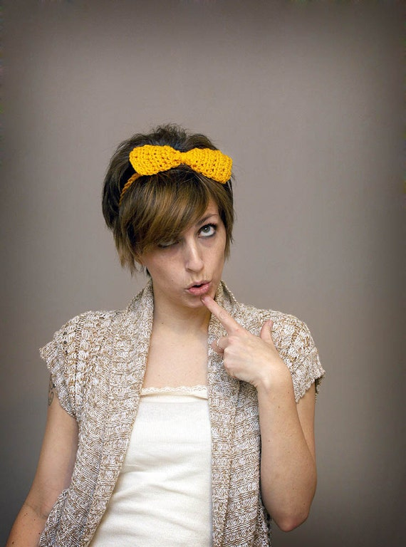 Crochet Bow Hair Accessory - Big Mustard Yellow Bow Headband - Women or Girls - Holiday Gift Idea