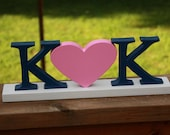 """Personalized 4""""  Wooden Letters Heart Wedding center piece, Engagement, Wedding Decor, Photography Props, Wedding, Decor"""
