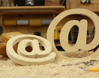 7 5/8 inch at symbol, Ampersat Photography prop, Wooden Alphabet Letters, DIY, Wedding Decor, Photography Props, Wedding