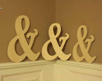 "16"" Wooden Ampersand Photography prop, Wooden Alphabet Letters, DIY, Engagement, Wedding Decor, Photography Props, Wedding"