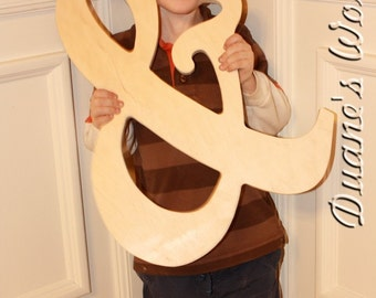 "14"" Wooden Ampersand Photography prop, Wooden Alphabet Letters, DIY, Engagement, Wedding Decor, Photography Props, Wedding"
