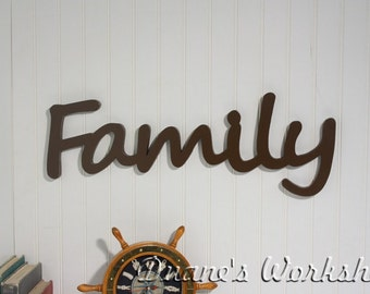 "8"" Family Sign,Wall hanging, Wooden Family sign, wooden letters,wooden sign, home decor, wood sign, Housewares, Wall Decor"